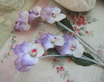 Vintage Millinery Flowers Lavender Purple Paper Buds Japan