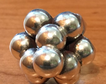 MODERNIST Balls STERLING SILVER Ring Ring Size 9 Adjustible