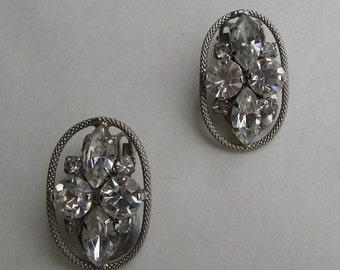 Openwork Navette Rhinestone Clip On Earrings Star Cross Ovals Vintage Jewelry