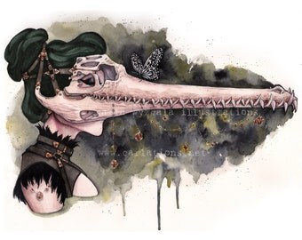 Green Alligator Swamp Steampunk skull mask watercolor art print Carla Wyzgala carlations