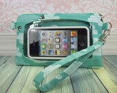 cell phone wristlet, iphone wristlet, Touch Screen Wristlet, smartphone wristlet case, teal, birds