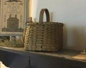 Primitive Painted Handwoven Peg Basket, Farmhouse Decor, Primitive Decor, Country Rustic Decor, Cottage Chic