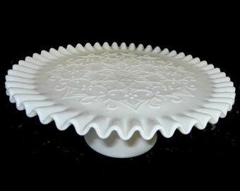 Fenton Spanish Lace Pedestal Cake Stand  / Plate Ruffled Edge Milk Glass    1950s