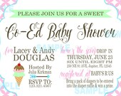 Co-Ed Baby Shower,  Sweet Baby Shower, Ice cream, pink, blue, mint green