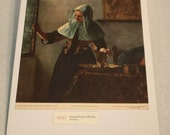 """1937 Art Print """"Young Woman with Jug"""" by Vermeer"""
