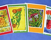 Fine Art Greeting Card Four Note Set, Joy of Flowers Hand Made Notes, Rose, Flora, Bee, and Poppies. Archival reproductions.
