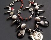 "20% WINTER SALE Unique Long Triple Pendant Custom Designed Necklace by Liz Wolter / Ethnic, Tribal, Exotic 28"""