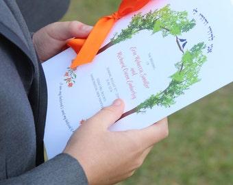 "Jewish wedding program ""tree of life"" Hebrew Ani l'Dodi"