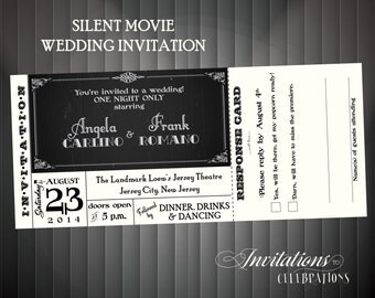 Silent movie Wedding invitation DIY printable or Printed for you Deposit