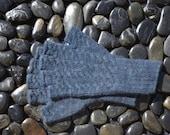 Blue Angora Gloves, Navy Blue Half Finger Gloves, Medium, Dark Blue Fingerless Gloves, Naturally Dyed Angora Gloves, Dark Blue Gloves, VDIM