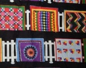 cotton quilt fabric Diane Phalen Roadside Quilts 22 inches plus extra black picket fence miniature small bright pink blue purpole yellow OOP