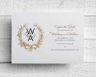 Wreath Save the Date | Wreath Wedding Invitation | Wreath Monogram | Wreath Wedding Save the Date | Gold Save the Date | Gold Wedding