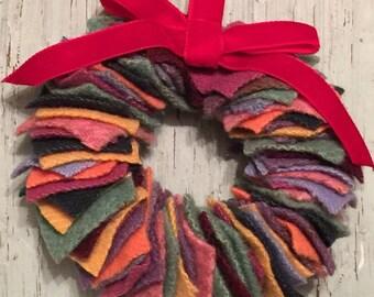 Multi colored wool felt small wreath