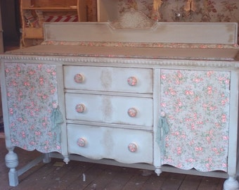 Sold Sold --- Rustic Decoupaged Distressed Dresser Sideboard Buffet Server