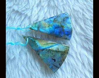 New,AAA Blue Labradorite Gemstone Earring Bead,34x21x5mm,8.3g