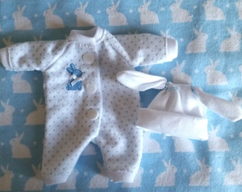 """4 Pc Blue Bunny Sleeper Set. You pick size, 5""""-6"""", 6""""-7"""", 7""""-8"""", 8""""-9"""", 9""""-10"""" or 11""""-12""""Mini Doll Clothes"""