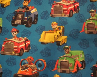 Paw Patrol inspired minky lined blanket 28 x 34 - or 34 x 45  Baby / Toddler // choose minky color