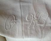 monogrammed cotton sheet,  MO, white cotton, bedding, bedlinen, monogram, vintage home, flat sheet,  French antique linen