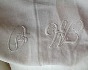 Monogrammed Cotton Sheet,  MO Monogram, Antique Linen, White Bedding, Antique bedlinen, flat sheet,  French Antique Bedsheet