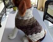 """Dog Sweater Chocolate Chip No 2 Medium 14""""  long  Merino Wool"""