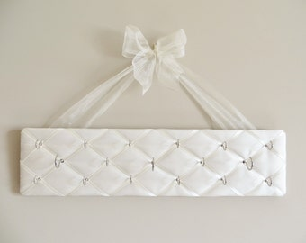LAST ONE Original French Jewelry Hanger - Ivory 100% Dupioni Silk Fabric with Beautiful  Bow - Ready To Ship