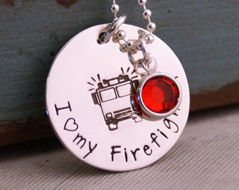 Firefighter wife Necklace / Hand Stamped Personalized Jewelry / Firefighter wife jewelry / Firefighter Engine Necklace