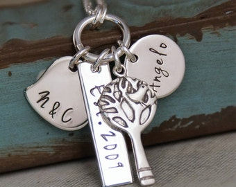 Personalized Mommy Jewelry - Hand Stamped Jewerly - Sterling Silver Necklace - My Love Story (one child)