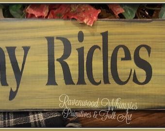 Primitive Hay Rides sign, primitive sign, prim fall sign, hay ride, prim fall, primitive handmade sign, wooden sign