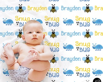 Snug as a Bug - Boy Bug Theme Name Blanket photo prop blanket, personalized baby gift, personalized blanket, choose colors