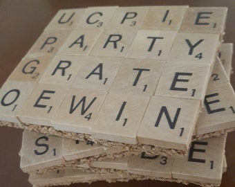 Scrable Coasters...Set of 4...FREE SHIPPING...Full Cork Bottoms...Great Gift