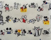 Japanese cotton fabric Cat and Mouse printed Half yard white colour