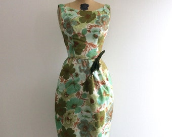 Vintage 1950's Floral Party Dress 50's Bubble Skirt Green Dress