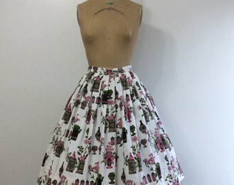 Vintage 1950s Novelty Print Skirt Apothecary Print Fabric 50s Pink