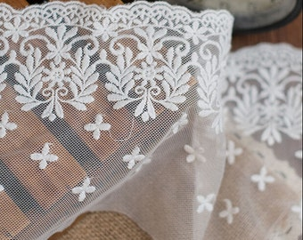 "5 yard 15cm 5.9"" wide ivory mesh tulle gauze fabric embroidered tapes lace trim ribbon 1173 free ship"