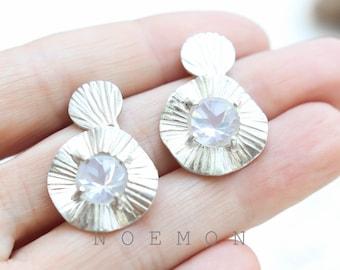 sterling silver 925 earrings, rock crystal quartz earrings, white, sparkling, long earrings, gemstone earrings , round earrings