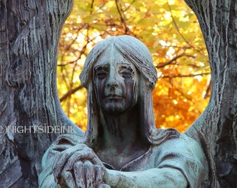 Cemetery Art Photography Gothic Angel Art Print - Haserot Angel by Nightside INK #C091