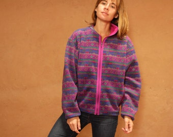 90s GRUNGE fleece PASTEL ikat dark soft PATAGONIA style ski fleece