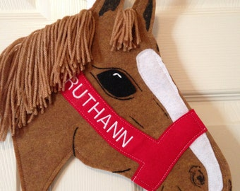 Custom made Horse stocking personalized in the whimsical image of YOUR horse
