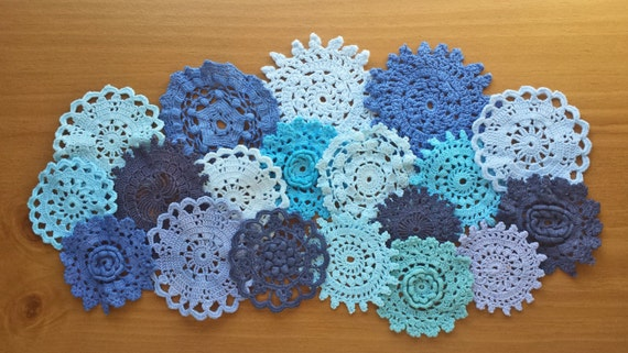 18 Blue Hand Dyed Vintage Crochet Doilies, Navy, Cobalt, Aqua, Turquoise, and Light Blue Colors, Small Craft Doilies