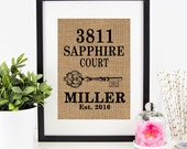 Personalized House Warming Gift BURLAP Print .. Vertical Design .... Makes a Unique New Home Gift