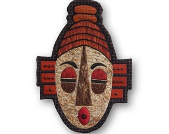 "Serene Quilted Tribal Mask Wall Hanging - MEDITATION - 14.5""W x 20.5""H"