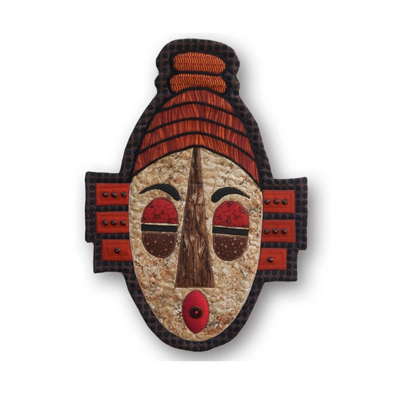 """Serene Quilted Tribal Mask Wall Hanging - MEDITATION - 14.5""""W x 20.5""""H"""