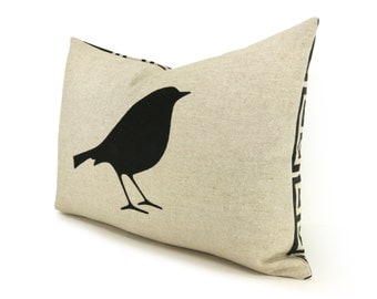 Bird pillow case | Black and beige decorative cushion cover with geometric pattern accent | 16x16 or 12x18 | Modern woodland home decor