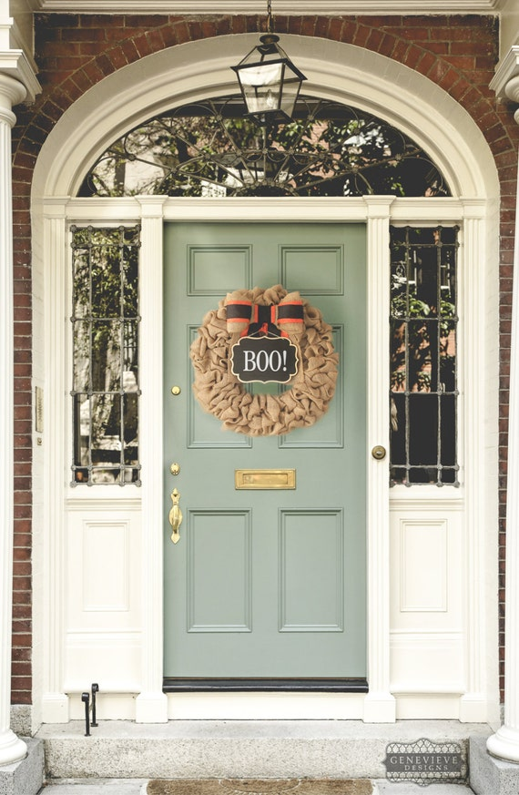 Halloween Wreath, Fall Burlap Wreath, Front Door Wreaths for Fall, Boo Sign, Front Porch Decor, Boo! Halloween Decorations