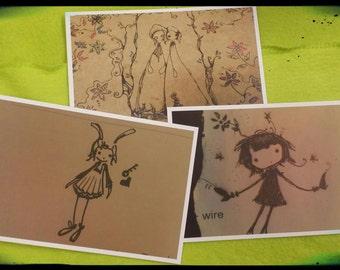 Three Pack 4x6 Original Sepia Art Prints/Postcards