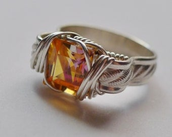 Square Faceted Mystic Topaz Gem in Sterling Silver Wire-Wrapped Ring, Sz. 8