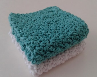 Cloth Pads Reusable, Crocheted Cotton Dishcloths, Washcloths, Set of 2