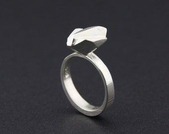 Wedged Solitaire Facet Ring: Sterling Silver Faceted Ring