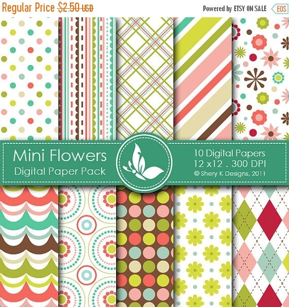 50% off Mini Flowers Paper Pack - 10 printable Digital Scrapbooking papers - 12 x12 - 300 DPI