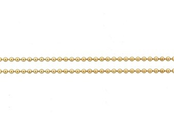 14Kt Gold Filled 1mm Bead Chain - 5ft (5426-5)  Made in USA 10% discounted LOWEST PRICE wholesale quantity